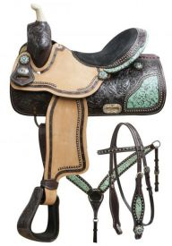"#7658: 15"", 16"" Double T barrel saddle set with teal filigree inlay"