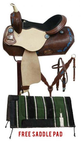 "15"" Double T barrel style saddle package set with blue feather design"