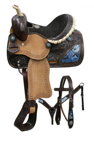 Double T pony saddle set with blue snake print inlays