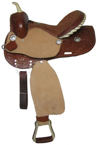 "#8491: 14"", 15"", 16"" Double T barrel saddle with roughout fenders and jockies"