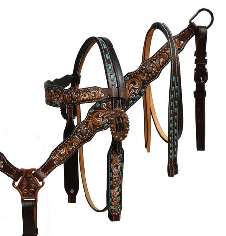 #85005: Showman ® Hand painted floral tooled headstall and breast collar with teal buck stitch