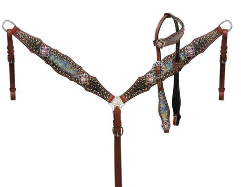 #85034: Showman ®  Holographic snake print headstall and breast collar set