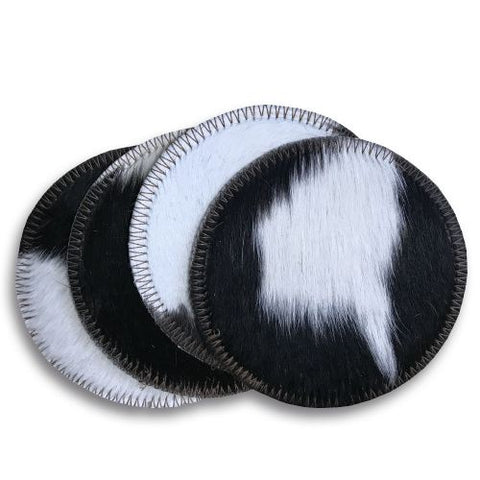 #885: Black and White Cowhide Coasters