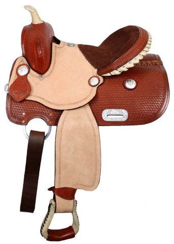 "Chestnut Double T youth saddle with 3/4"" half breed suede leather seat"