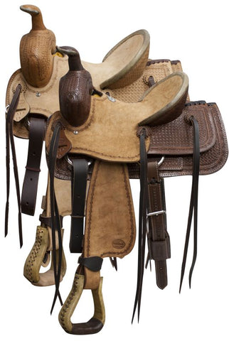 "#9601013: 13"" Blue River roper saddle rough out leather and basketweave tooling"