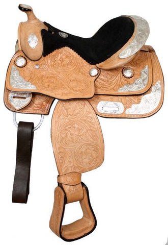 #9655: Fully tooled Double T pony show saddle