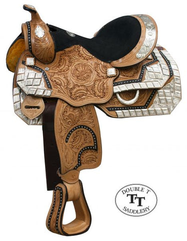 Double T fully tooled Youth / Pony show saddle with silver