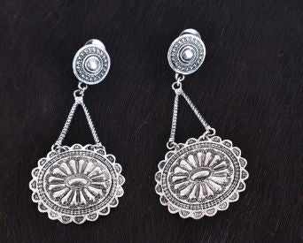 #AER4107: CLEARANCE Attitude Silver earring with Concho style dangle