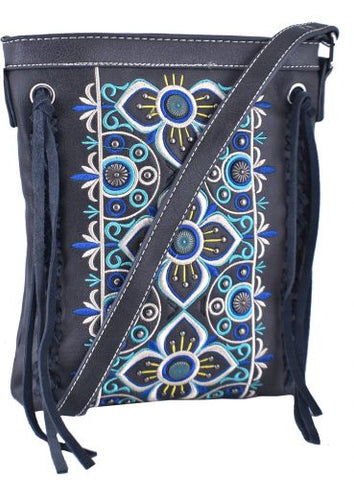 Gray Genuine Leather conceal carry crossbody handbag with floral embroidered design