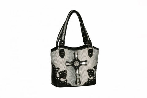 #BC2668-B: P and G collection silver snake print PU leather handbag with brown leather trim and cry