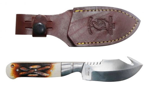 The Bone Collector™ Fixed blade knife with bone handle and leather holster