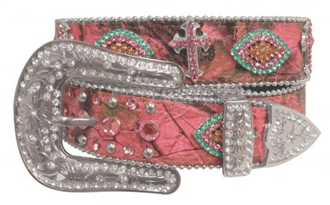 "XS/ SM (29""- 33"") Showman Couture ™ Western style bling pink camo belt with removable buckle"