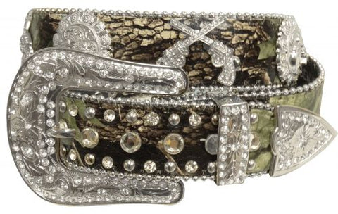 "MD/LG (35""-39"") Showman Couture ™ Western style bling camo belt with crossed guns conchos"