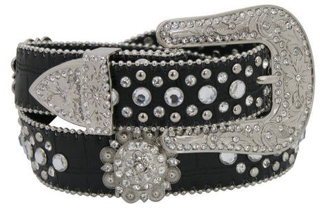 "LG/XL (39""-43"") Showman Couture ™ Western style bling rosette concho belt with removable buckle"