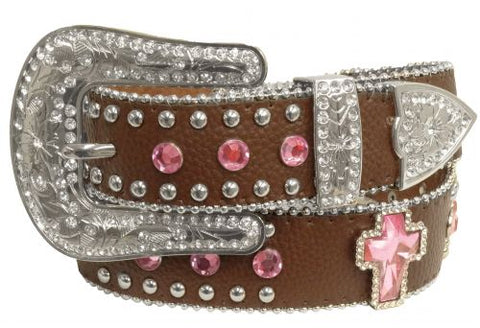 "MD/LG (35""-39"") Showman Couture ™ Western style bling belt with pink crystal rhinestone cross conchos and removable buckle"