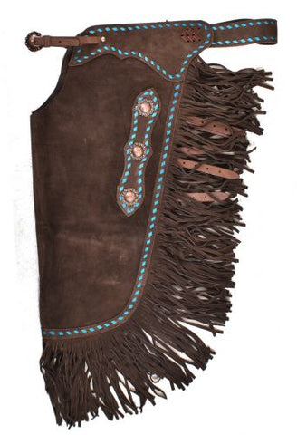 Showman ® Dark Brown Suede leather chinks with turquoise buckstitch