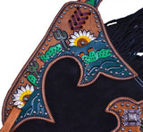 Showman ® Black suede leather chinks with hand painted sunflower and cactus design