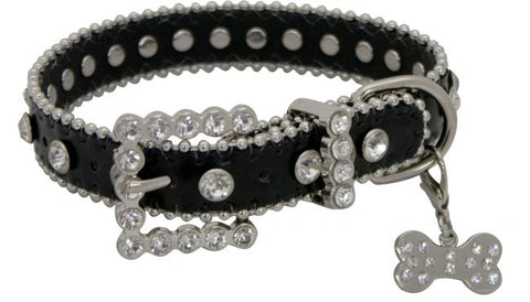 Small Showman Couture ™ Black leather dog collar with crystal rhinestones