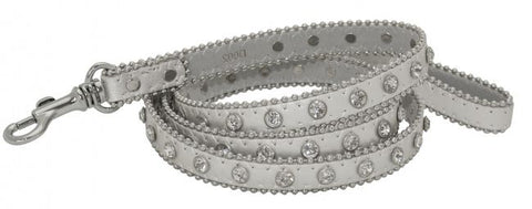 Showman Couture ™ Silver leather leash with crystal rhinestones