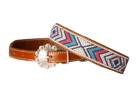#DC-21: Showman Couture ™ Genuine leather dog collar with beaded inlay