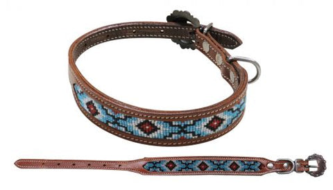 #DC-02: Showman Couture ™ Beaded inlay leather dog collar with copper buckle