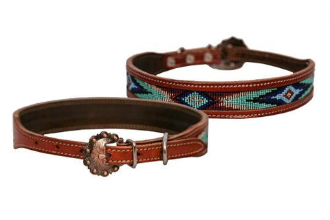 #DC-07: Showman Couture ™ Genuine leather dog collar with beaded inlay