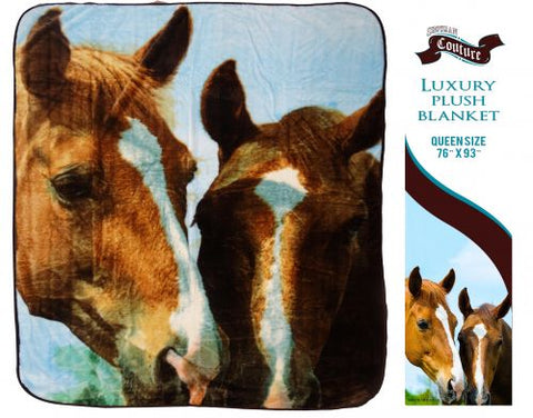 "#G2833: Showman Couture ™ Luxury plush blanket with "" Barn Buddies"" print. Queen Size 76"" x 93"". Queen Size 76"" x 93"". Super soft luxury plush blanke"