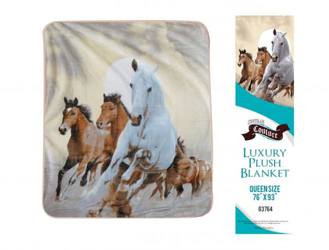 "#G3764: Showman Couture ™ Luxury plush blanket with desert horse print. Queen Size 76"" x 93"".  Queen Size 76"" x 93"""