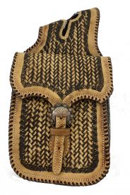 #HB-08: Showman ®   Two tone basket  tooled leather  horn  bag