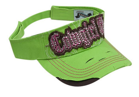 "Lime Showman Couture ™ Ladies embroidered "" Cowgirl Up"" visor"