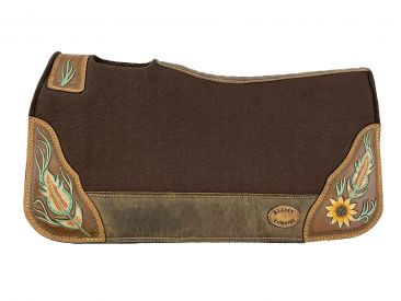 "#KC-3901: Klassy Cowgirl  28x30  Barrel  Style 1""  Brown  felt  pad with  antiqued feather  & sunfl"