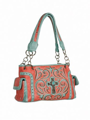 #BA1955-D: P and G collection pink PU leather conceal and carry handbag