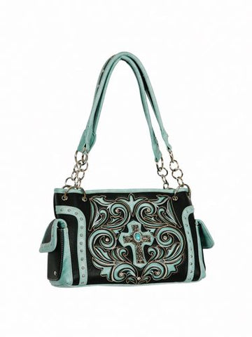 #BA1955-B: Black PU leather handbag with light turquoise inlays