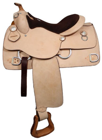 #633116: Weight: 32 lbs.Color: Light (as pictured)Premium leather Double T training saddle with suede leather seat