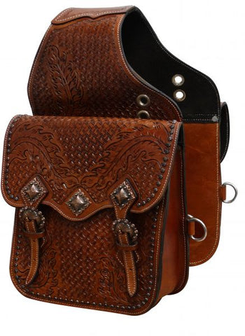#SB-53: Showman ® Tooled leather saddle bag with antique copper hardware