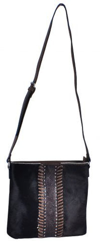 #BA1262-C: Brown Genuine Leather Crossbody Bag with cowhide overlay