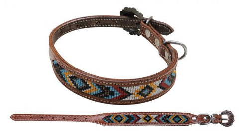 #DC-04: Showman Couture ™ Beaded inlay leather dog collar with copper buckle