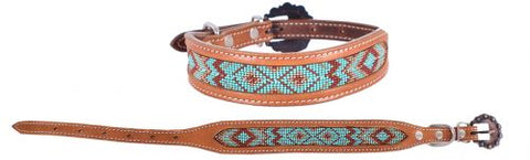 #DC-27: Showman Couture ™ Genuine leather dog collar with beaded inlay