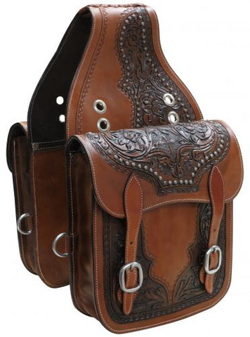 #SB-59: Showman ® Tooled leather saddle bag