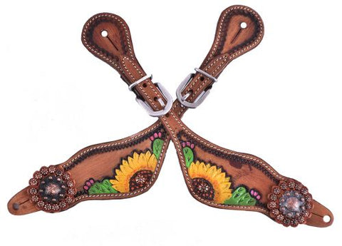 Showman ® Ladies Hand painted sunflower and cactus design spur straps