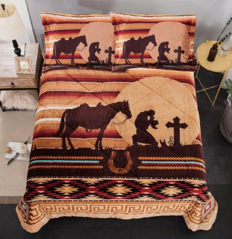 #SW0317Q: Queen Size 3 pc Borrego comforter set with Geometric Praying Cowboy design