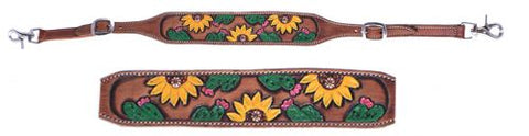 #WS-10: Showman® Hand painted sunflower and cactus wither strap