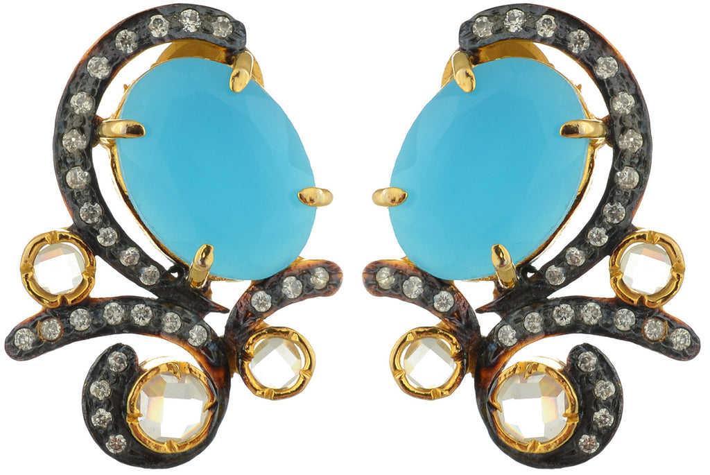 Earrings in yellow gold finish with Blue stone and CZ – Cygnet Jewels