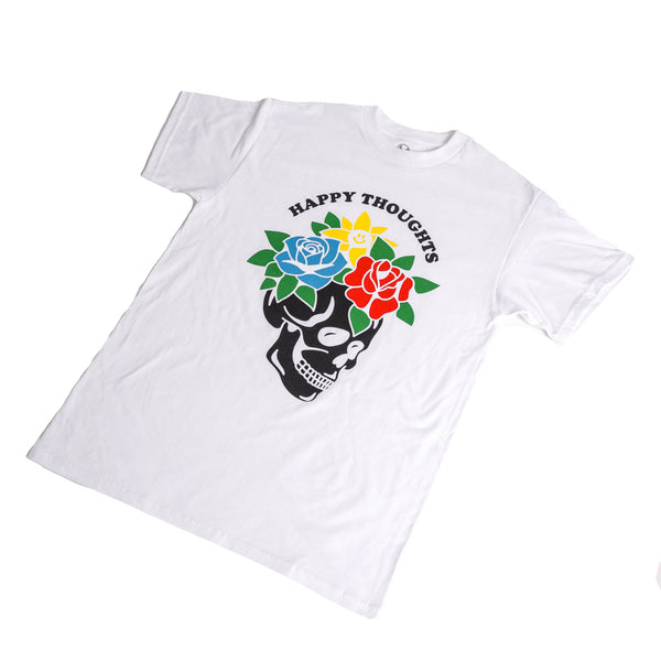HAPPY THOUGHTS 2.0 FLOWER SKULL TEE