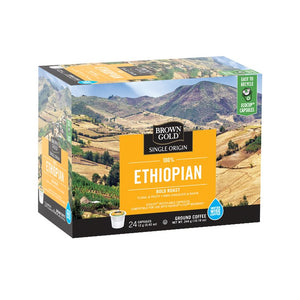 Brown Gold Coffee K-Cups 100% Ethiopian 24 Count