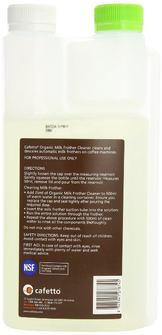 Cafetto GREEN Organic Milk Frother Cleaner 1 litre