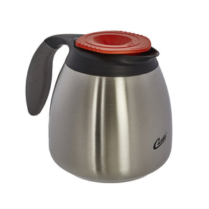 Wilbur Curtis 64oz ThermoPro Decaf Orange Stainless Steel Steel Lined Pourpot with Brew-Thru Lid