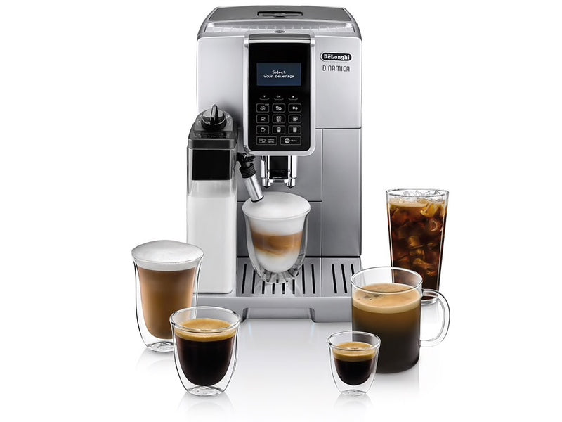 Delonghi Dinamica with LatteCrema Automatic Coffee & Espresso Machine with Iced Coffee + Automatic Milk Frother, Silver - ECAM35075SI