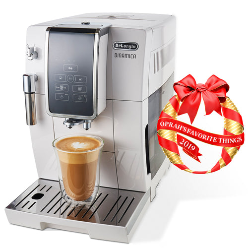 Delonghi Dinamica Automatic Coffee & Espresso Machine with Iced Coffee, TrueBrew Over Ice, White - ECAM35020W