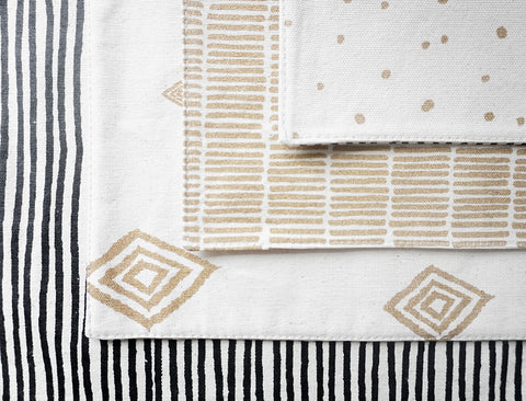 Stripe and Dots Reversible Canvas Placemats (Set of 2)